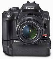 Canon Rebel XT with battery grip and lenses